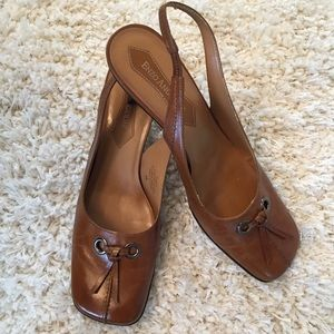 Enzo Angiolini leather slingback heels 8M brown